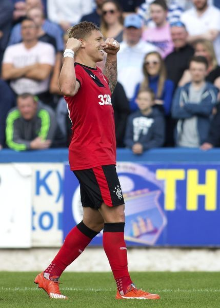 Rangers' Martyn Waghorn celebrates his third goal during the Ladbrokes Championship match at Cappielow Park, Greenock