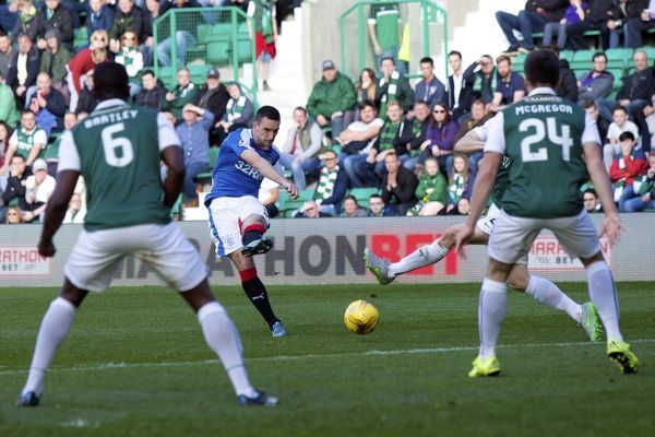 Rangers captain Lee Wallace scores via a deflection of Hibernian's Darren McGregor during the Ladbrokes Championship match at Easter Road, Edinburgh