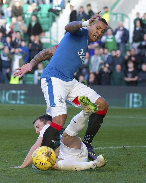 Rangers' James Tavernier and Hibernian's Lewis Stevenson during the Ladbrokes Championship match at Easter Road, Edinburgh