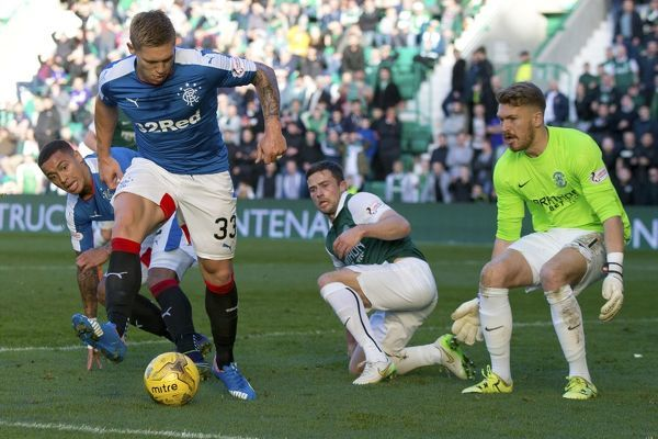 Rangers' Martyn Waghorn attempts to score via a back heel during the Ladbrokes Championship match at Easter Road, Edinburgh