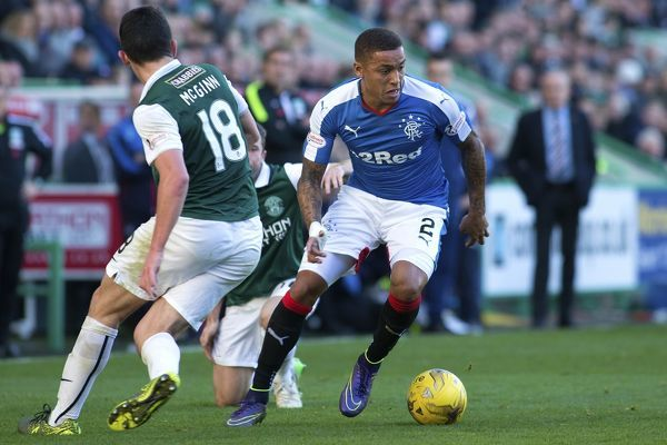 Rangers' James Tavernier is tackled by Hibernian's Lewis Stevenson (left) during the Ladbrokes Championship match at Easter Road, Edinburgh