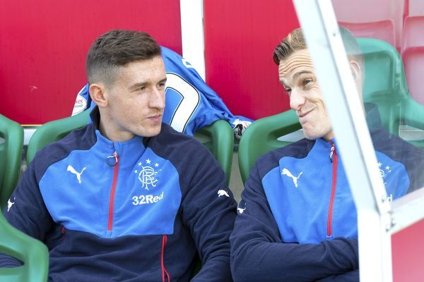 Rangers' Fraser Aird & Dean Shiels during the Ladbrokes Championship match at Easter Road, Edinburgh