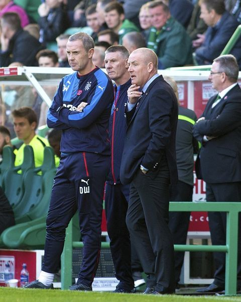 Rangers manager Mark Warburton, Jim Stewart & assistant manager David Weir during the Ladbrokes Championship match at Easter Road, Edinburgh