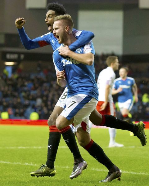 Rangers' Billy King celebrates his goal on his debut during the Ladbrokes Championship match at Ibrox Stadium, Glasgow