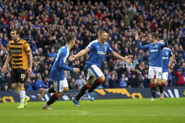Rangers' Martyn Waghorn celebrates his first goal during the Ladbrokes Championship match at Ibrox Stadium, Glasgow