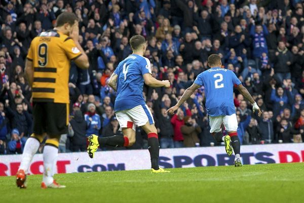 Rangers' James Tavernier celebrates his goal during the Ladbrokes Championship match at Ibrox Stadium, Glasgow