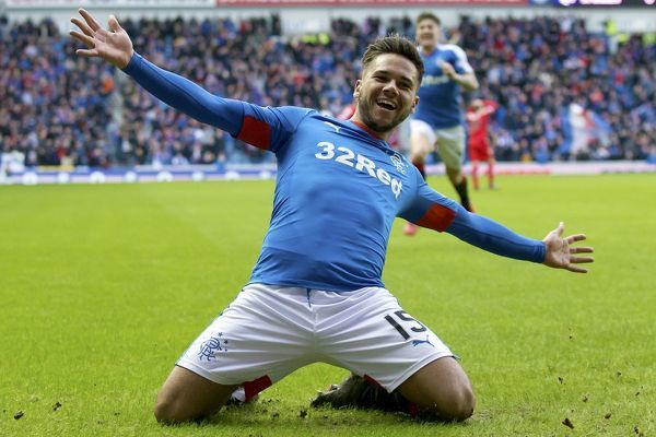Rangers' Harry Forrester celebrates his goal during the Ladbrokes Championship match at Ibrox Stadium, Glasgow