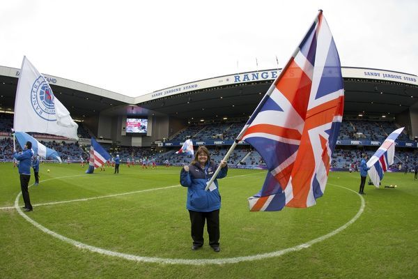 Rangers flag bearers during the Ladbrokes Championship match at Ibrox Stadium, Glasgow