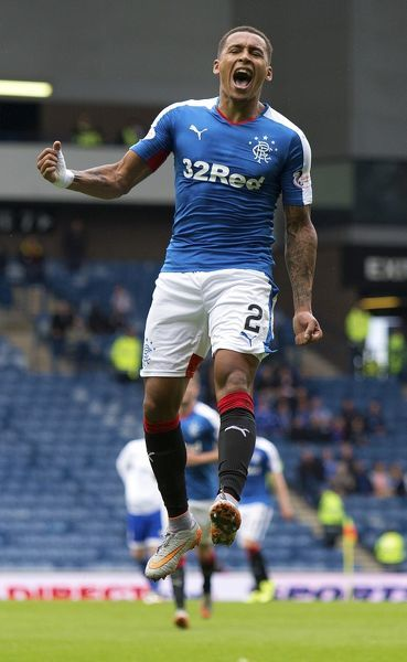 Rangers' James Tavernier celebrates his goal during the League Cup first round tie at Ibrox Stadium, Glasgow