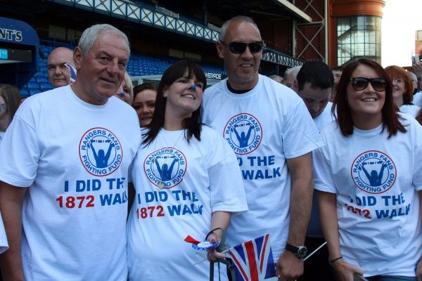 Fans taking part in the 1872 walk at Ibrox Stadium