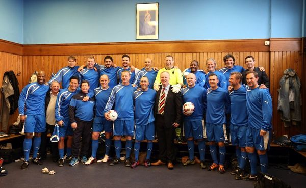 The Rangers Select team in the dressing room prior to kick off at the Fernando Ricksen Tribute match at Ibrox Stadium