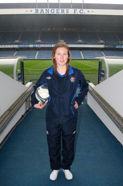 Rangers' Lisa Swanson before she takes part in the Ladies Scottish Cup Final against HIbernian
