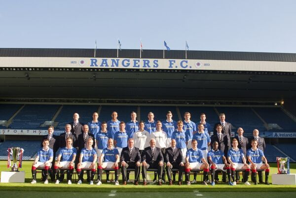 Rangers' Back (from left) - Davie Lavery (masseur), Steven Whittaker, Madjid Bougherra, Andy Webster, David Weir, Kyle Lafferty, Sasa Papac, Kirk Broadfoot, Jim Stewart (goalkeeping coach). Middle ? Jimmy Bell (kit controller), Ian Durrant (first team coach)