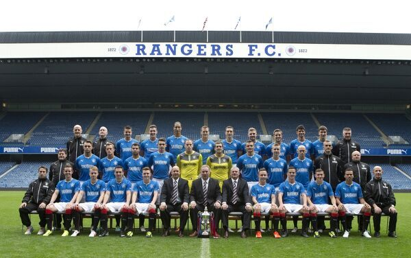 Rangers team picture for season 2013-14 (back row L-R) Jim Henry, David Lavery, Sebastien Faure, Ross Perry, Bilel Mohsni, Jon Daly, Lee Wallace, Kyle Hutton, Andy Little, Emilson Cribari, Luca Gasparotto, Jim Stewart (middle row L-R) Jimmy Bell