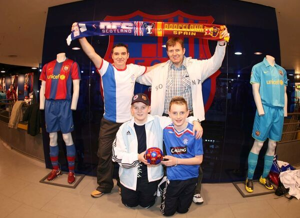 Stewart Henderson and Ian Grant (back) with Scott Grant and Jordan Kelly, Rangers Fans at Barcelona shop