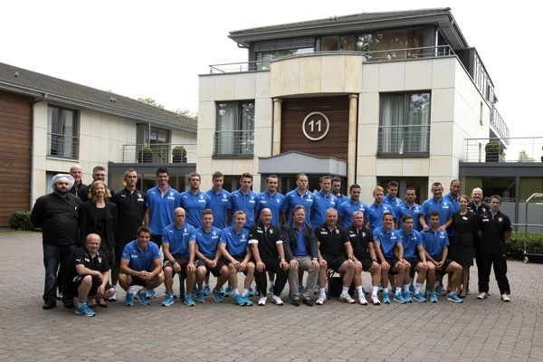 Rangers players, management & coaching staff pose for a team picture outside the hotel in Germany