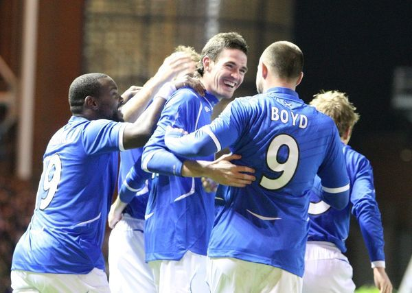 Kyle Lafferty, Rangers celebbrates scoring