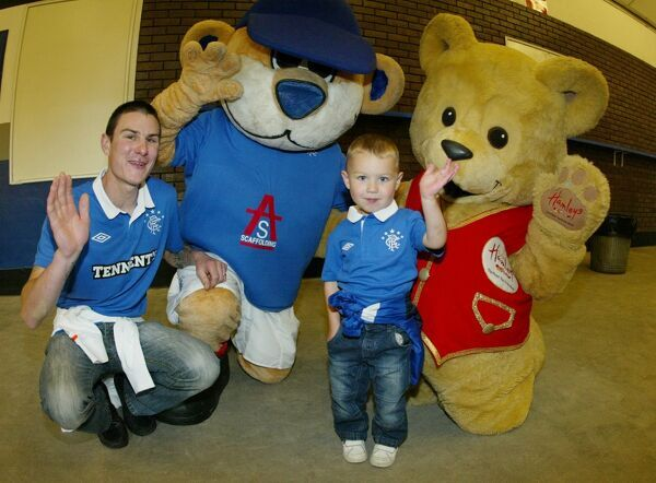 Rangers' Broxi Bear and the Hamleys Bear with kids