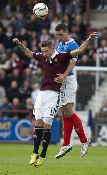 Rangers' Lee Wallace (right) and Heart of Midlothian's Sam Nicholson (left) during the Scottish Championship match at Tynecastle Stadium, Edinburgh