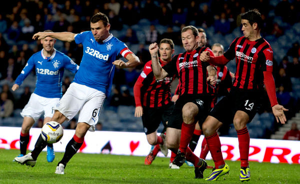 Rangers captain Lee McCulloch gets a shot in at goal