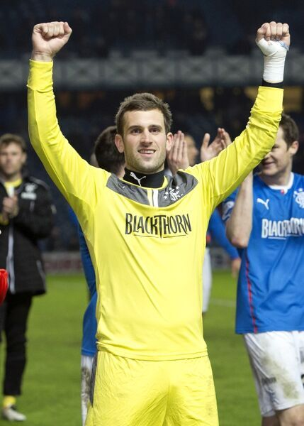 Rangers goal keeper Cammy Bell celebrates winning the Scottish League One title