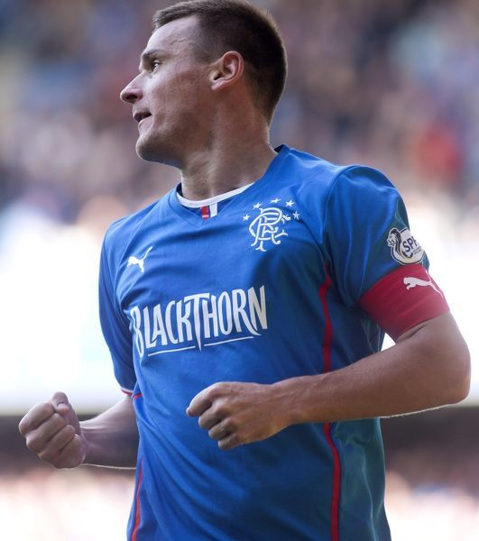 Rangers captain Lee McCulloch celebrates his third goal to complete his hatrick