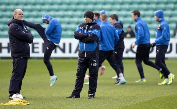 Rangers manager Kenny McDowall and assistant manager Gordon Durie watch their players warm up