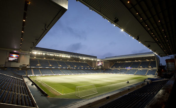 Snow lying on the pitch inside Ibrox Stadium prior to kick off