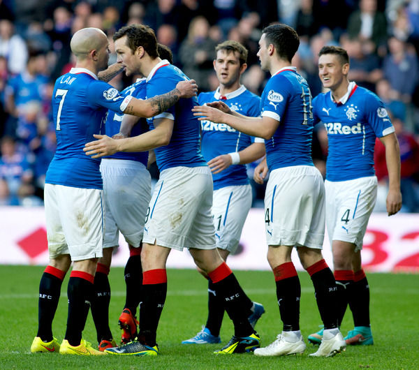 Rangers' Jon Daly celebrates his first goal with his team mates