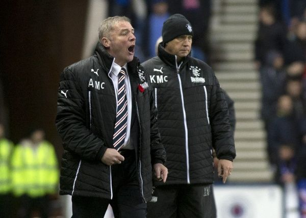 Rangers manager Ally McCoist urges on his players