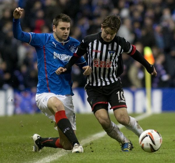 Rangers' Sebastien Faure and Dunfermline Athletic's Josh Falkingham