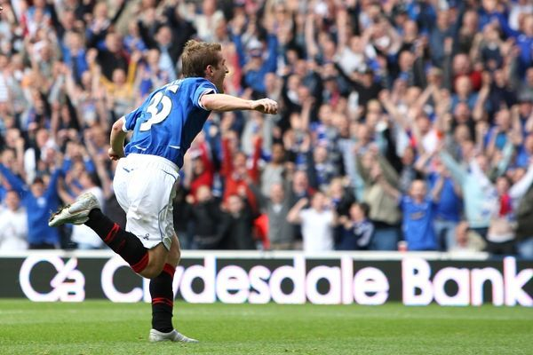Rangers' Steven Davis celebrates scoring his sides first goal of the game