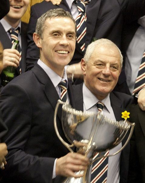 EXCLUSIVE PICS - Rangers' David Weir and Walter Smith celebrate back at Ibrox with the trophy