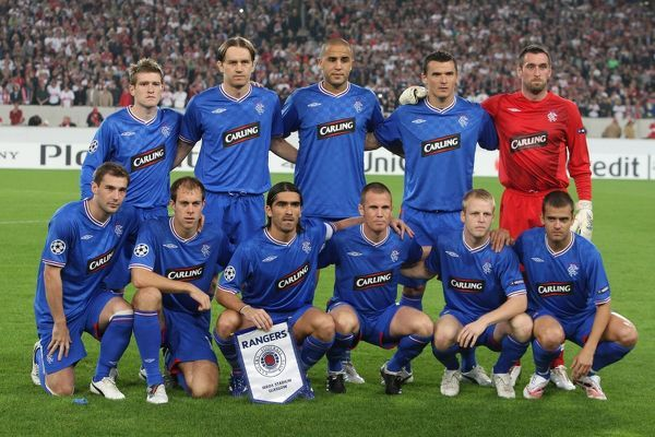 Rangers' line up, back row - Steven Davis, Sasa Papac, Madjid Bougherra, Lee McCulloch, Allan McGregor, front row - Kevin Thomson, Steven Whittaker, Pedro Mendes, Kenny Miller, Steven Naismith & Jerome Rothen