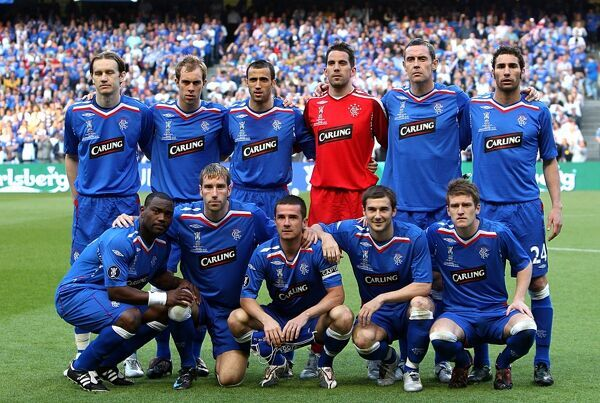 The Rangers team pose for a photograph before kick off