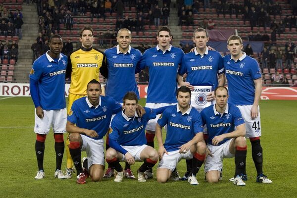 Rangers' (L-R back row) Maurice Edu, Neil Alexander, Madjid Bougherra, Kyle Lafferty, David Weir, Kyle Hutton (L-R front row) Kyle Bartley, Steven Davis, Richard Foster and Steven Whittaker. (El Hadji Diouf did not stand in the line up)