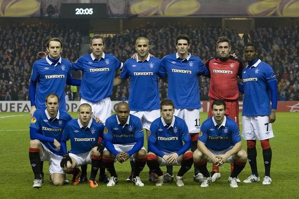 Rangers' (back row L-R) Sasa Papac, David Weir, Madjid Bougherra, Kyle Lafferty, Allan McGregor, Maurice Edu (front row L-R) Steven Whittaker, Vladimir Weiss, El Hadji Diouf, Steven Davis and Richard Foster