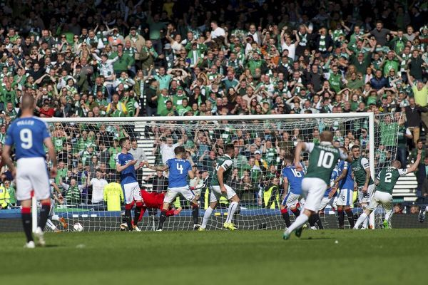 Hibernian's David Gray (no2) celebrates his goal during the William Hill Scottish Cup Final at Hampden Park, Glasgow