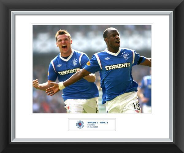 Celebrate an amazing Rangers victory over Celtic with your very own signed print. Each scorer has personally signed their goal celebration print. Goal 1 Sone Aluko, whose quick feet produced a piece of magic to open the score.  Limited to 50 prints of each