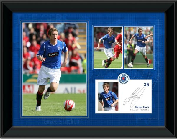 "Steven Davis Framed 2008 Player Profile, Rangers FC. Available in two sizes: RNGR125 - 16x12"" (405x305mm) RNGR129 - 8x6"" (204x152mm) with struttback"