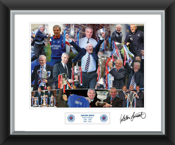 "Walter Smith framed print with signed mount featuring pictures of the Manager through the 9 in a Row era and as he lifted the SPL, Scottish Cup & League Cup trophies over the years. Print Size: 20x16"" RANG709"