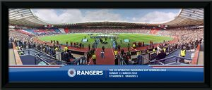 The Co-Operative Cup Final 2010 Line Up With Union Flag Framed Panoramic Print