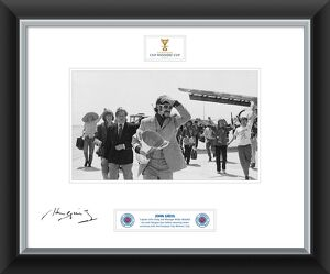 John Greig Signed and Framed Print with Cup Winners Cup at airport
