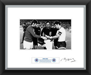 John Greig Signed and Framed Print Exchanging Pennants