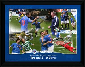 Rangers 3-0 Celtic - 20th October 2007 - Framed 16x12'' Montage, Rangers FC