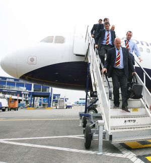 Soccer - Rangers Arrive Back in Glasgow - Glasgow Airport